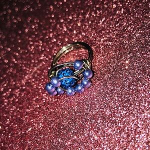💙 💎 Hand Made Blue Beaded Statement Ring
